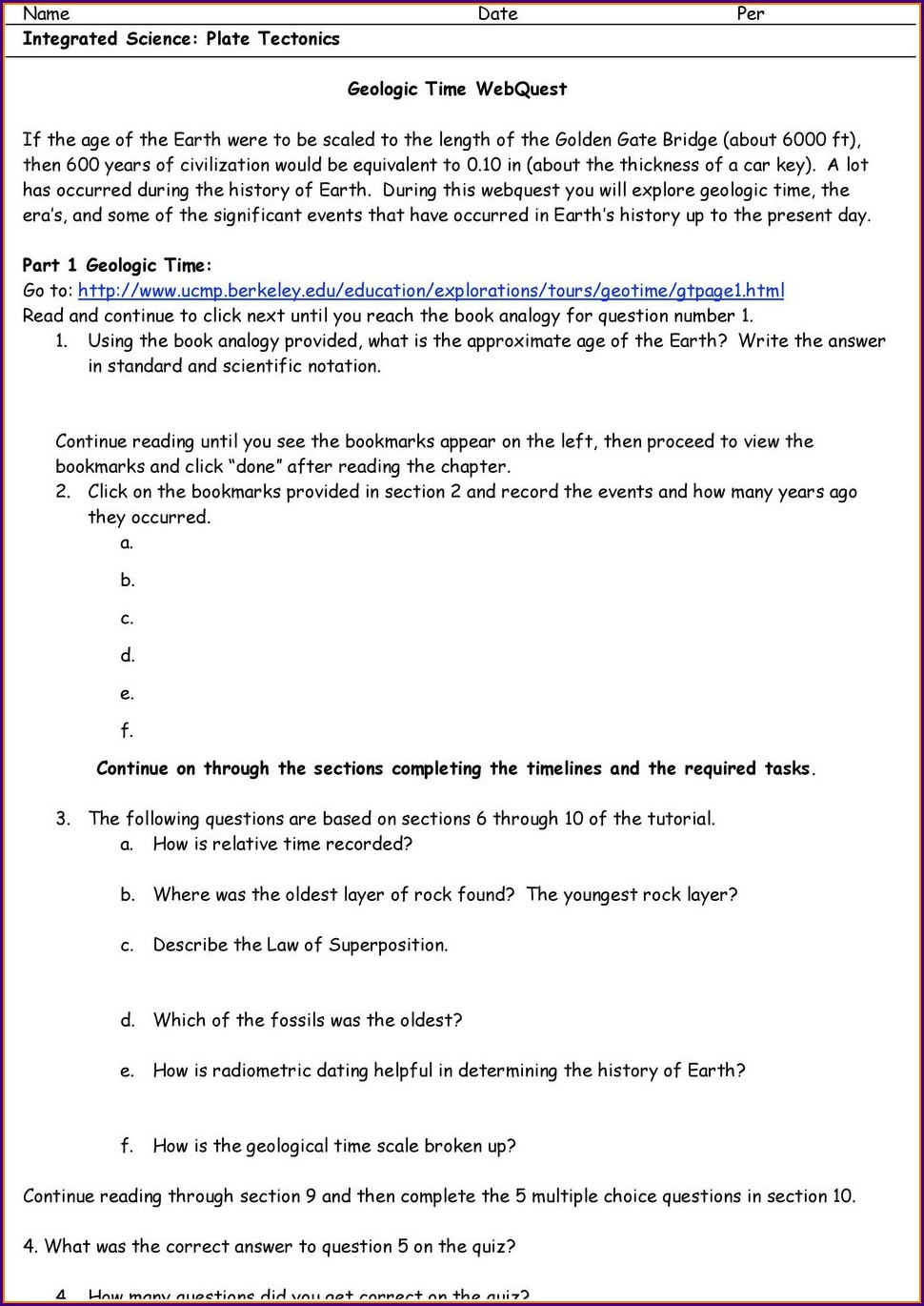 Geologic Time Worksheet Berkeley Answer Key