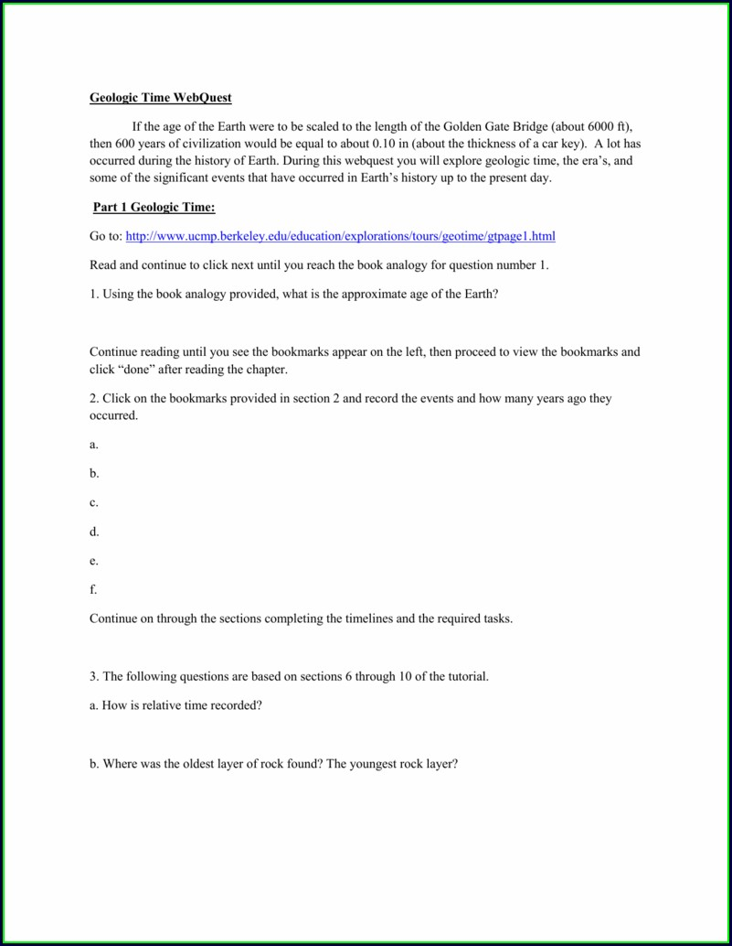 Geologic Time Worksheet Ucmp