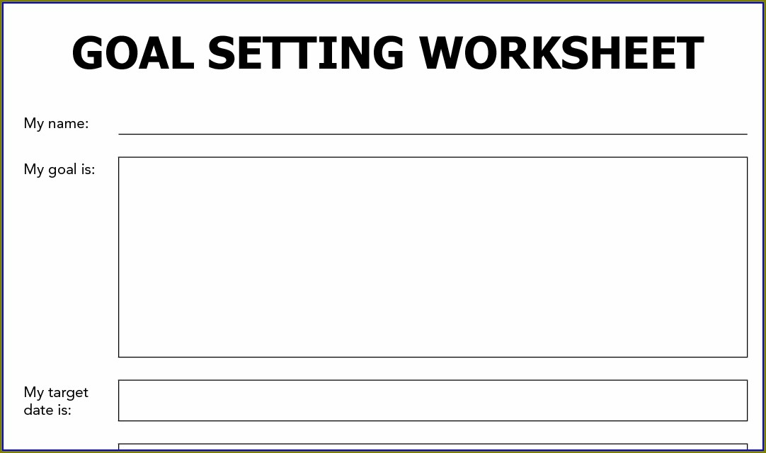 Goal Setting In Recovery Worksheet