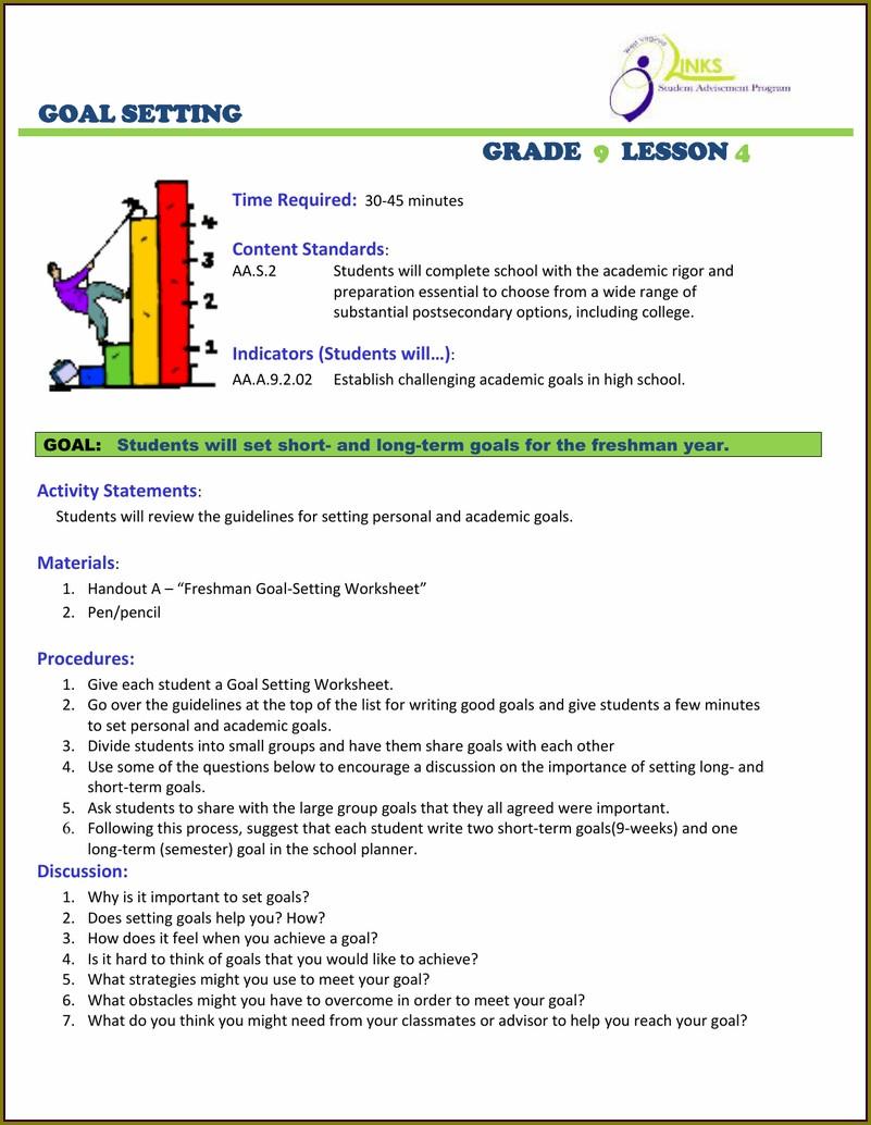 Goal Setting Worksheet For High School Seniors