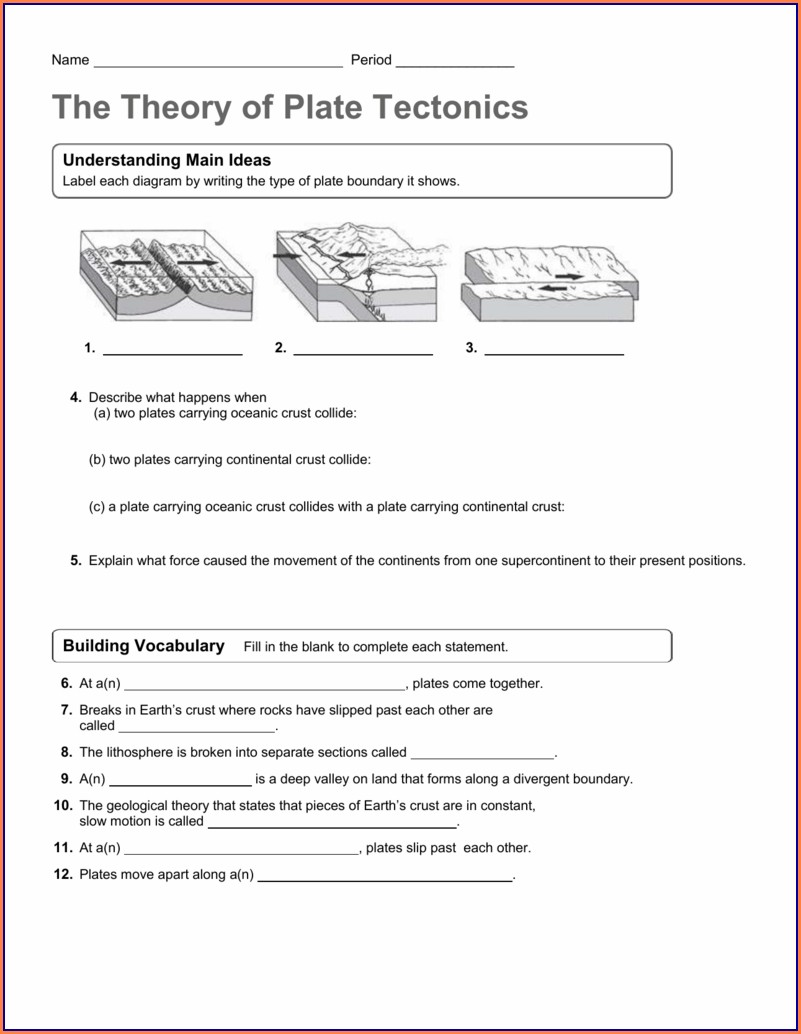 Going Deep With Plate Tectonics Worksheet
