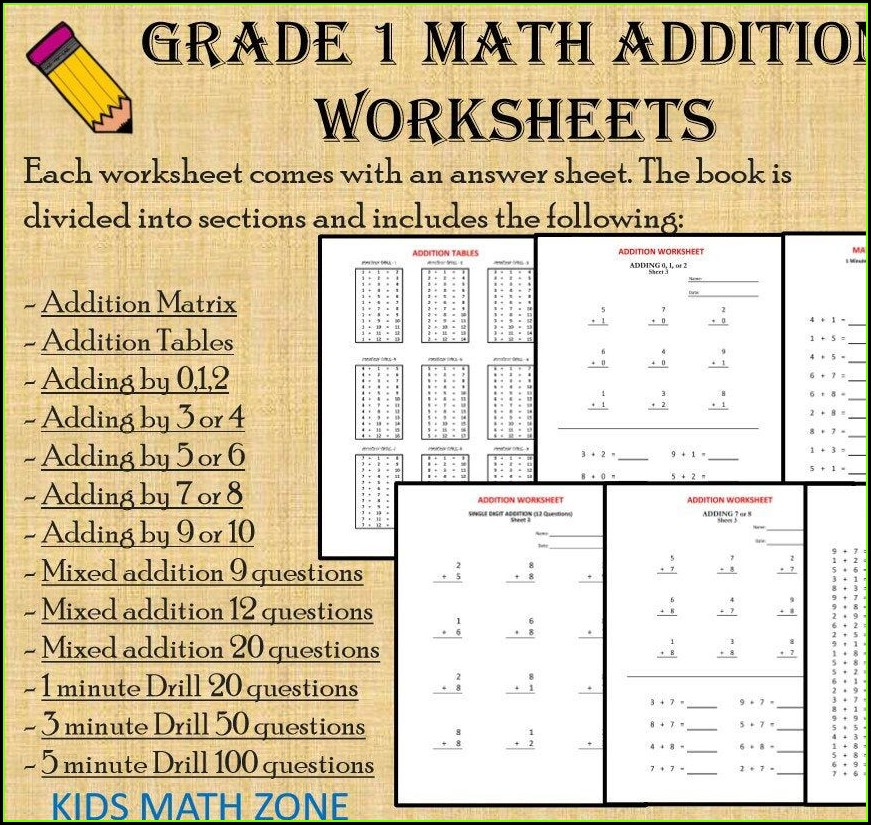 Grade 1 Math Addition Worksheets Pdf
