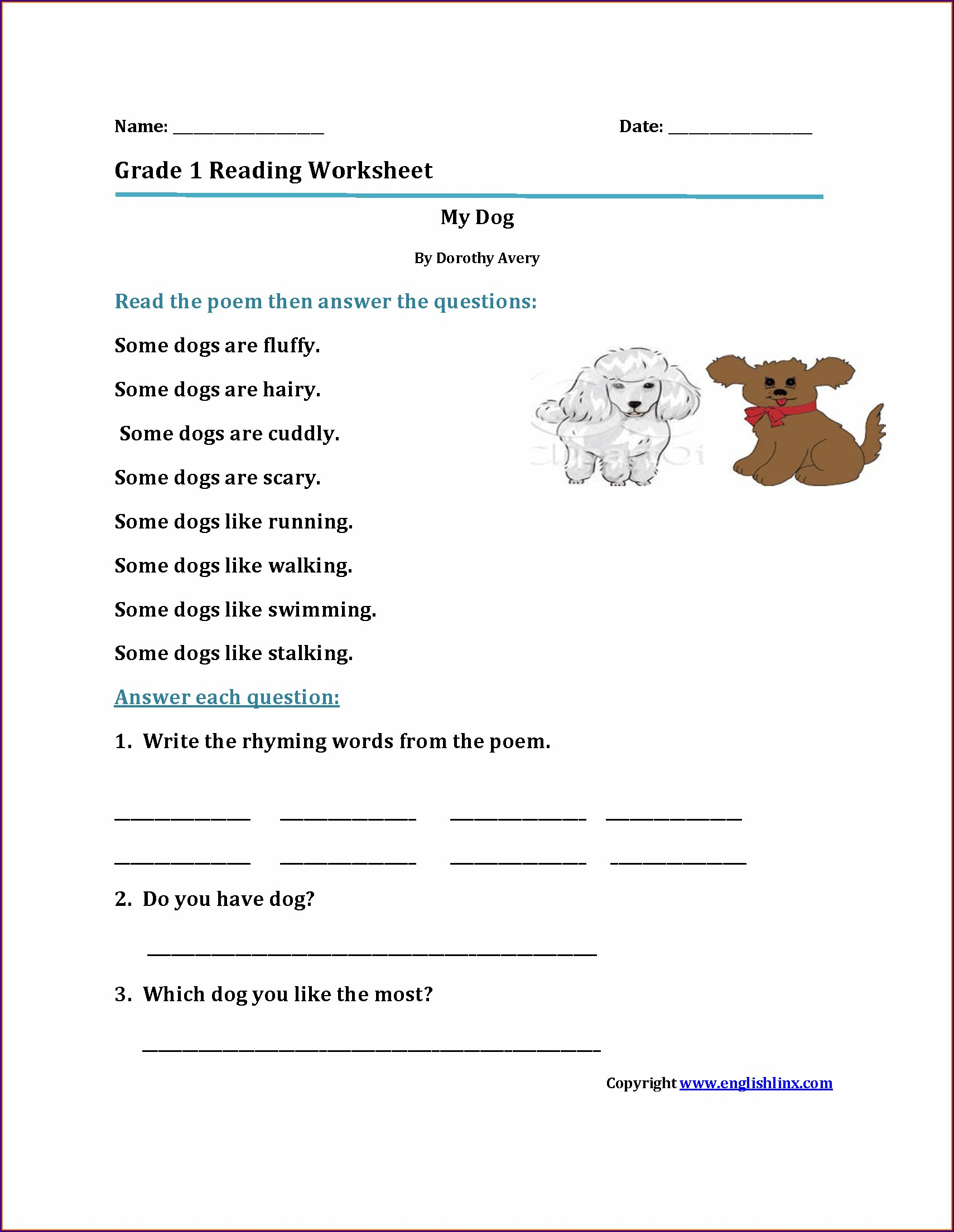 Grade 1 Reading And Writing Worksheets