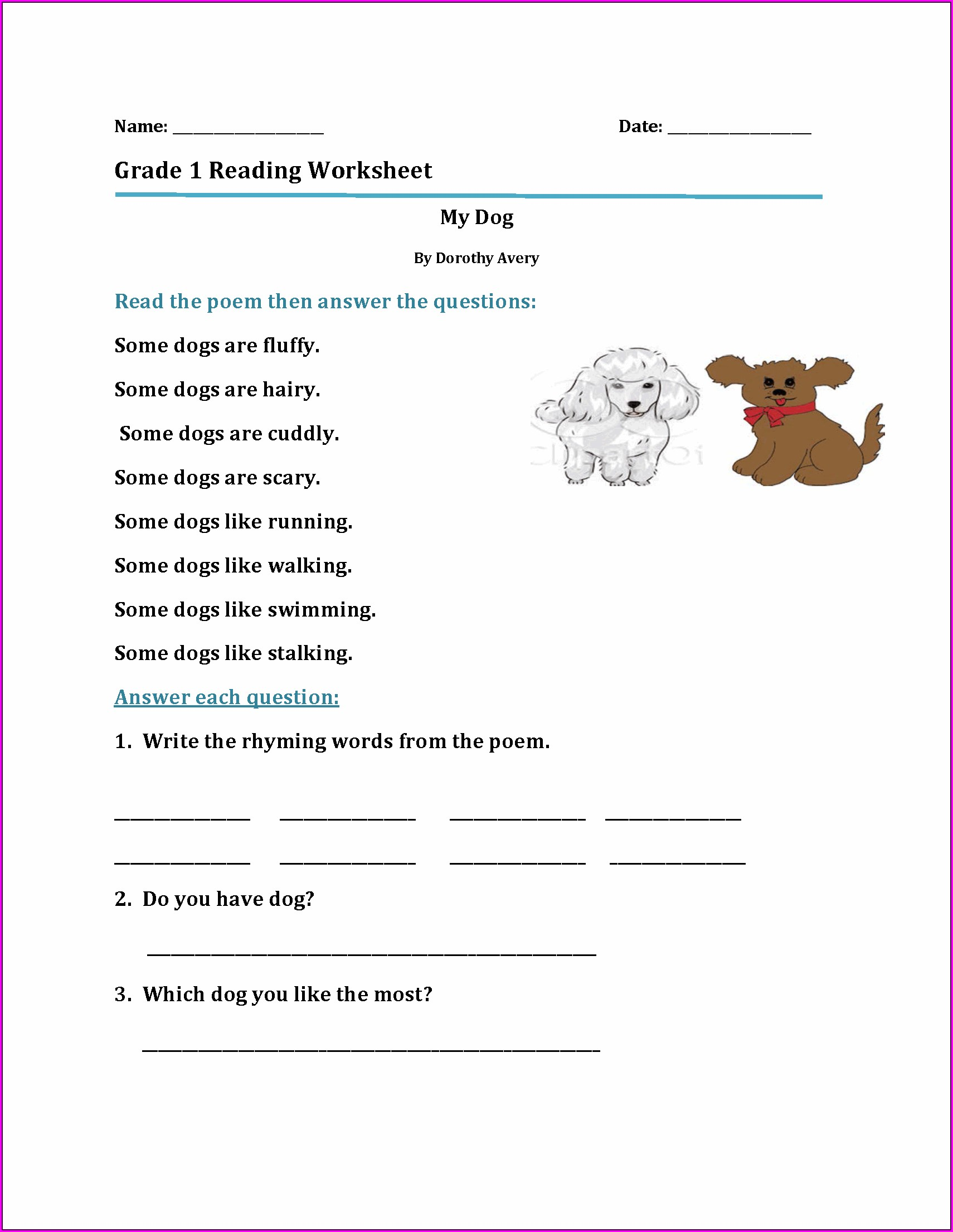 Grade 1 Reading Worksheets Printable