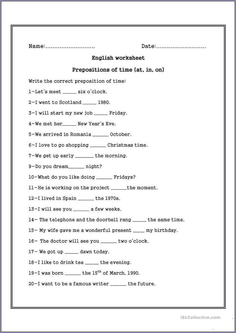 Grade 2 Preposition Of Time Worksheet