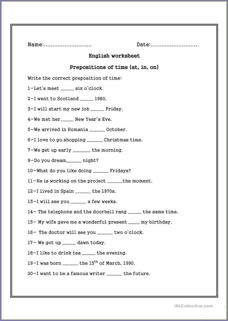 Grade 2 Preposition Of Time Worksheet