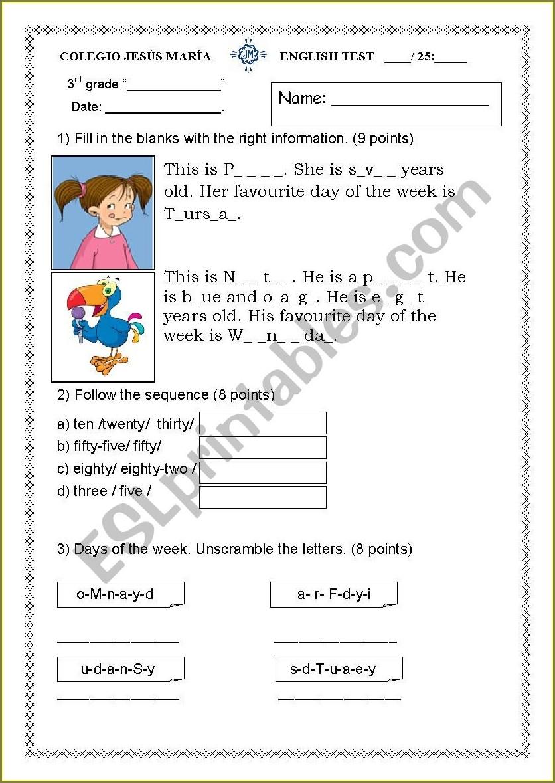 Grade 2 Worksheet English