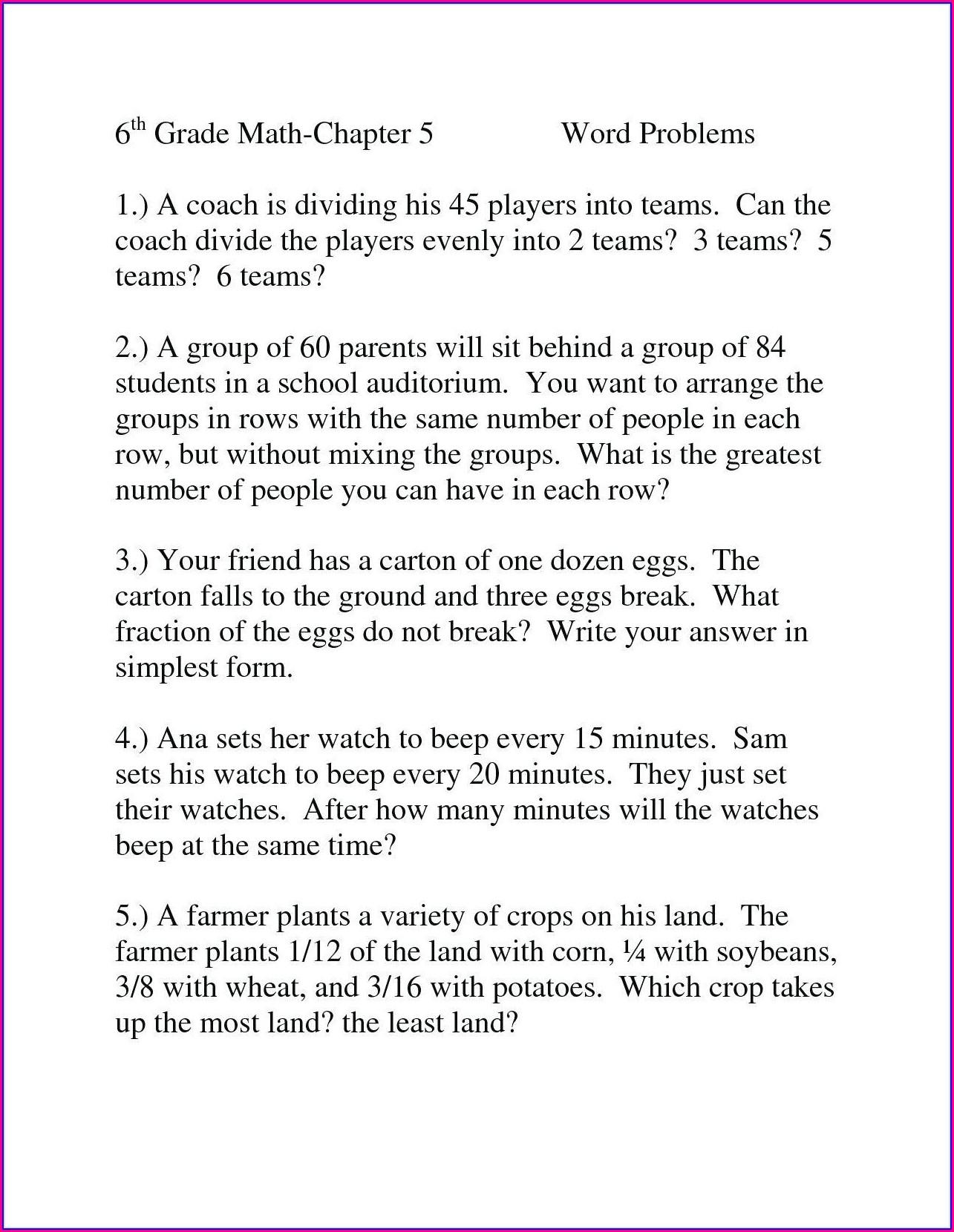 Grade 3 Math Word Problems Worksheets