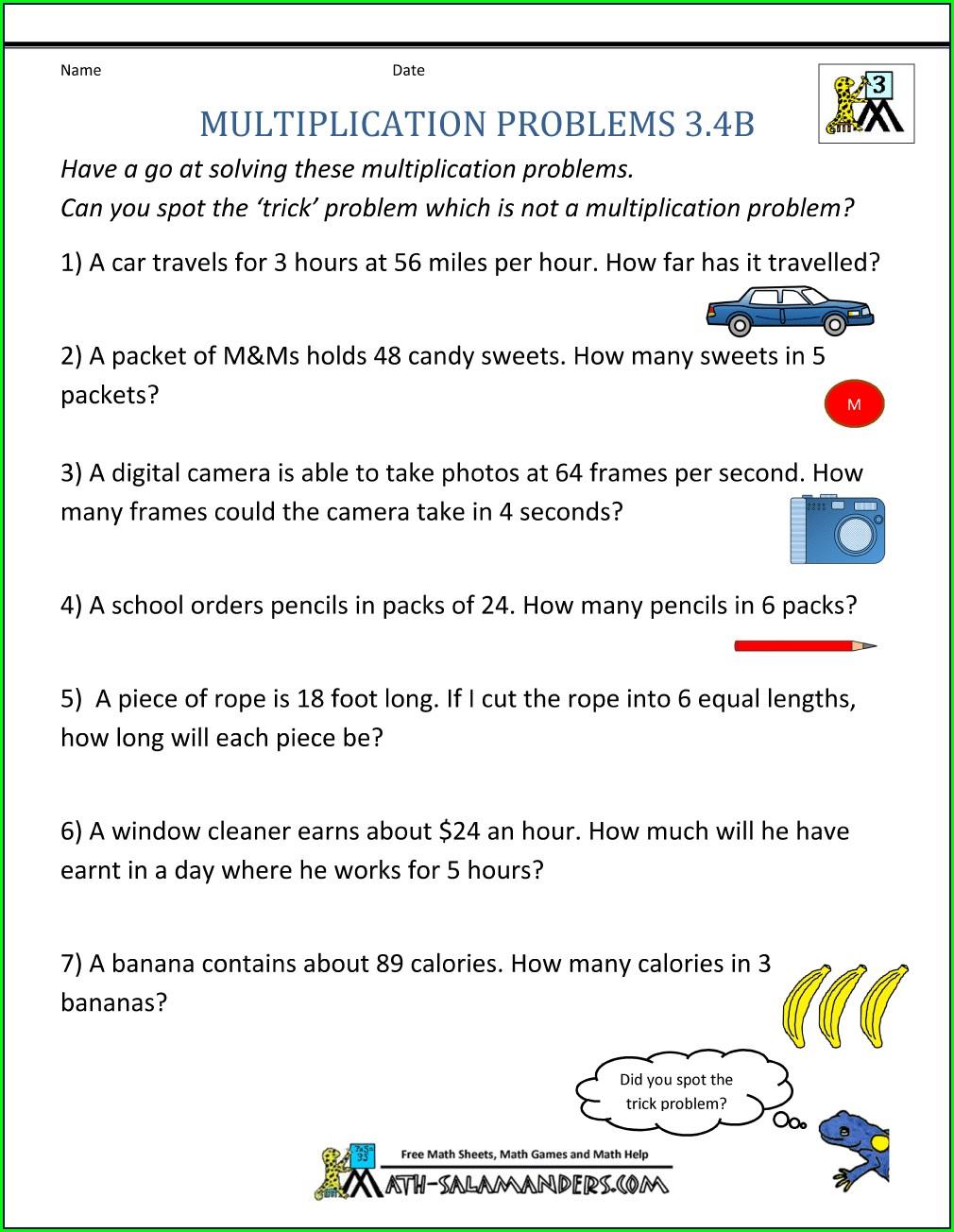 Grade 3 Multiplication Problem Solving Worksheet