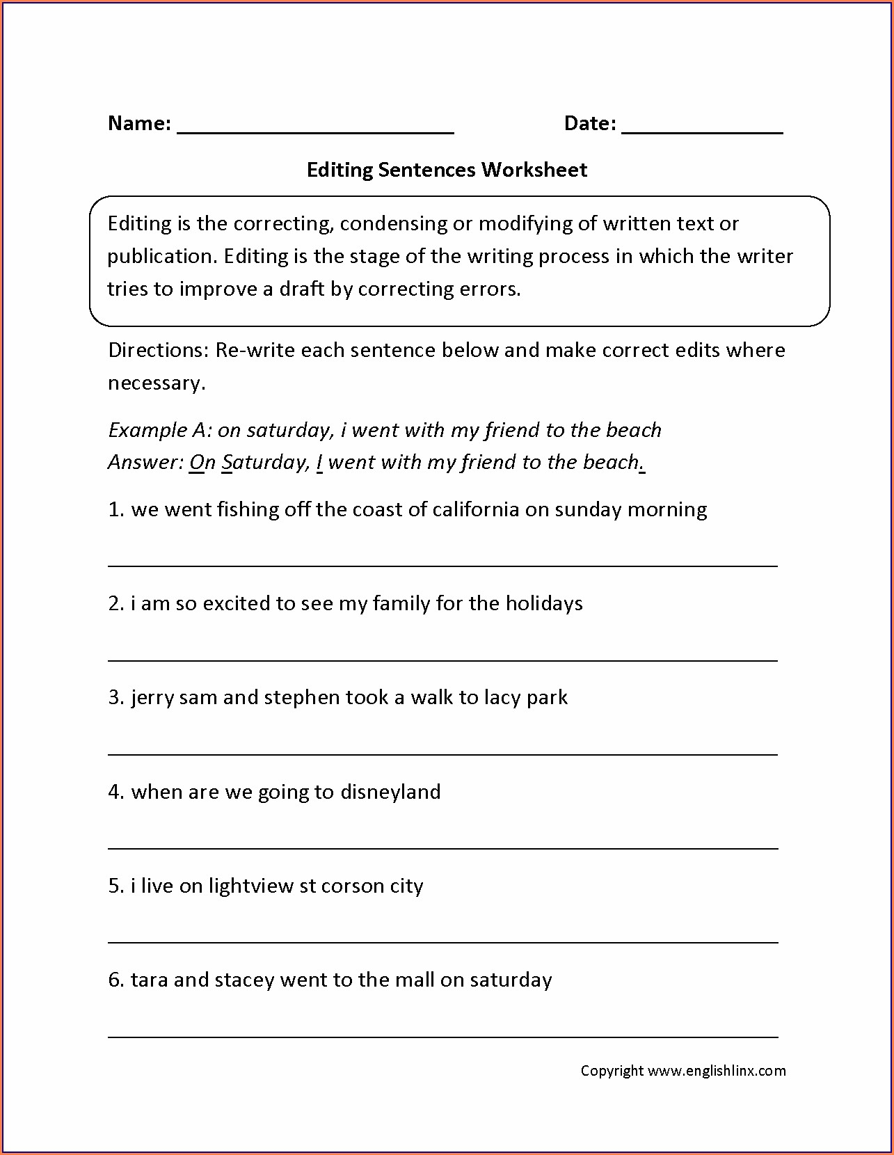 Grade 3 Sentences Writing Worksheets For 3rd Grade