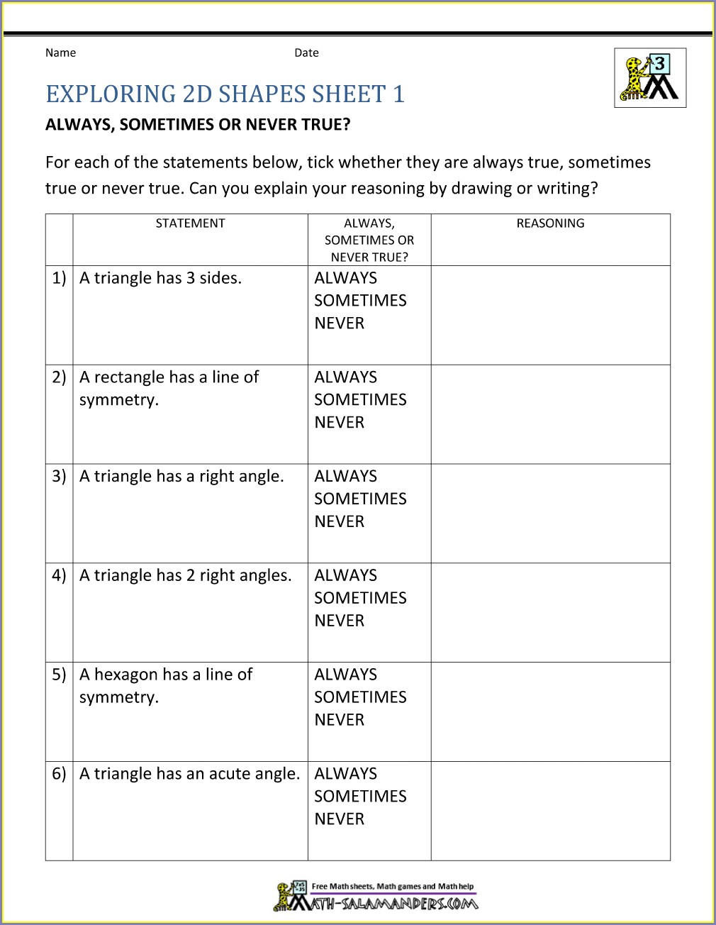 Grade 3 Third Grade 3rd Grade Geometry Worksheets