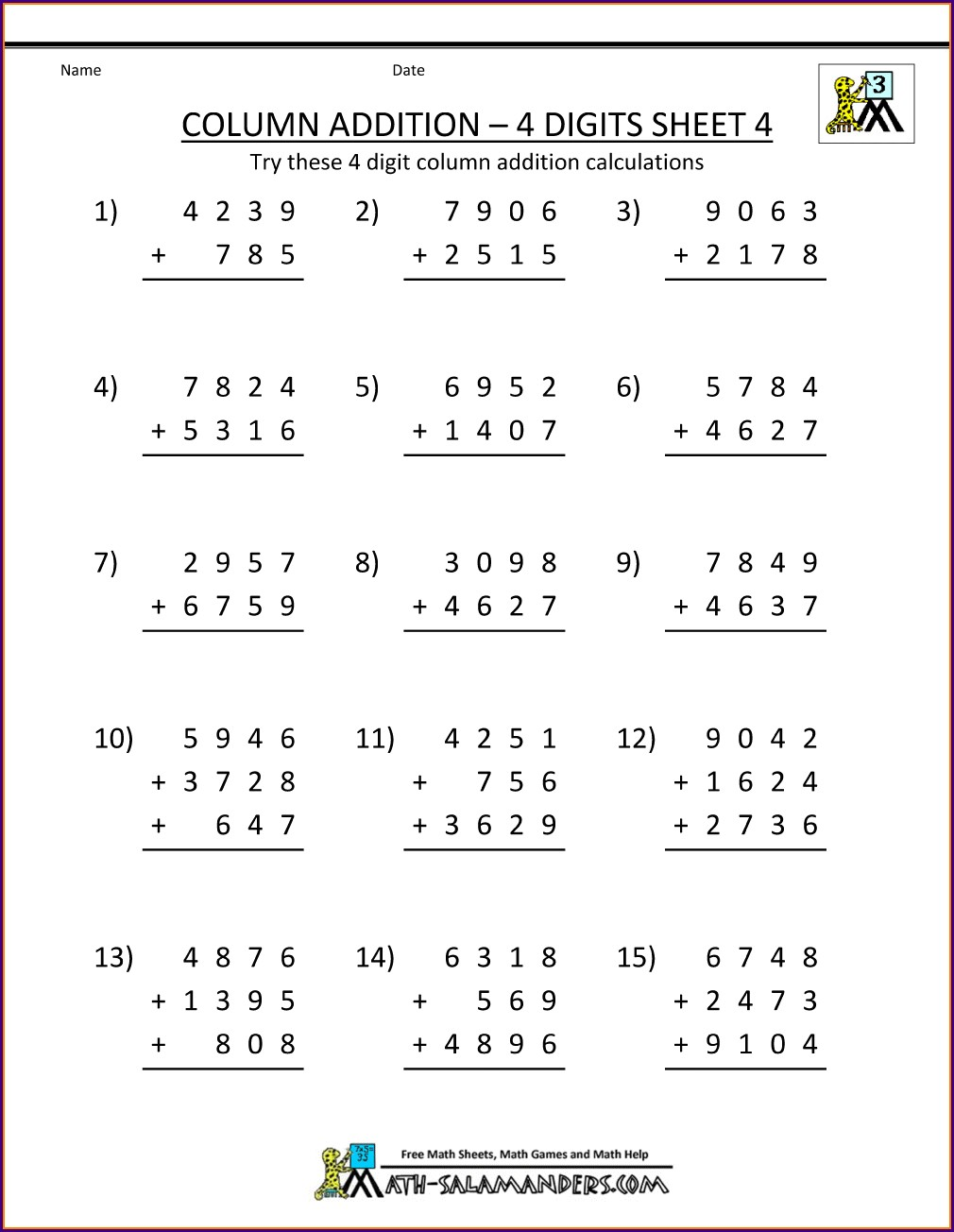Grade 4 Addition 4th Grade Math Worksheets