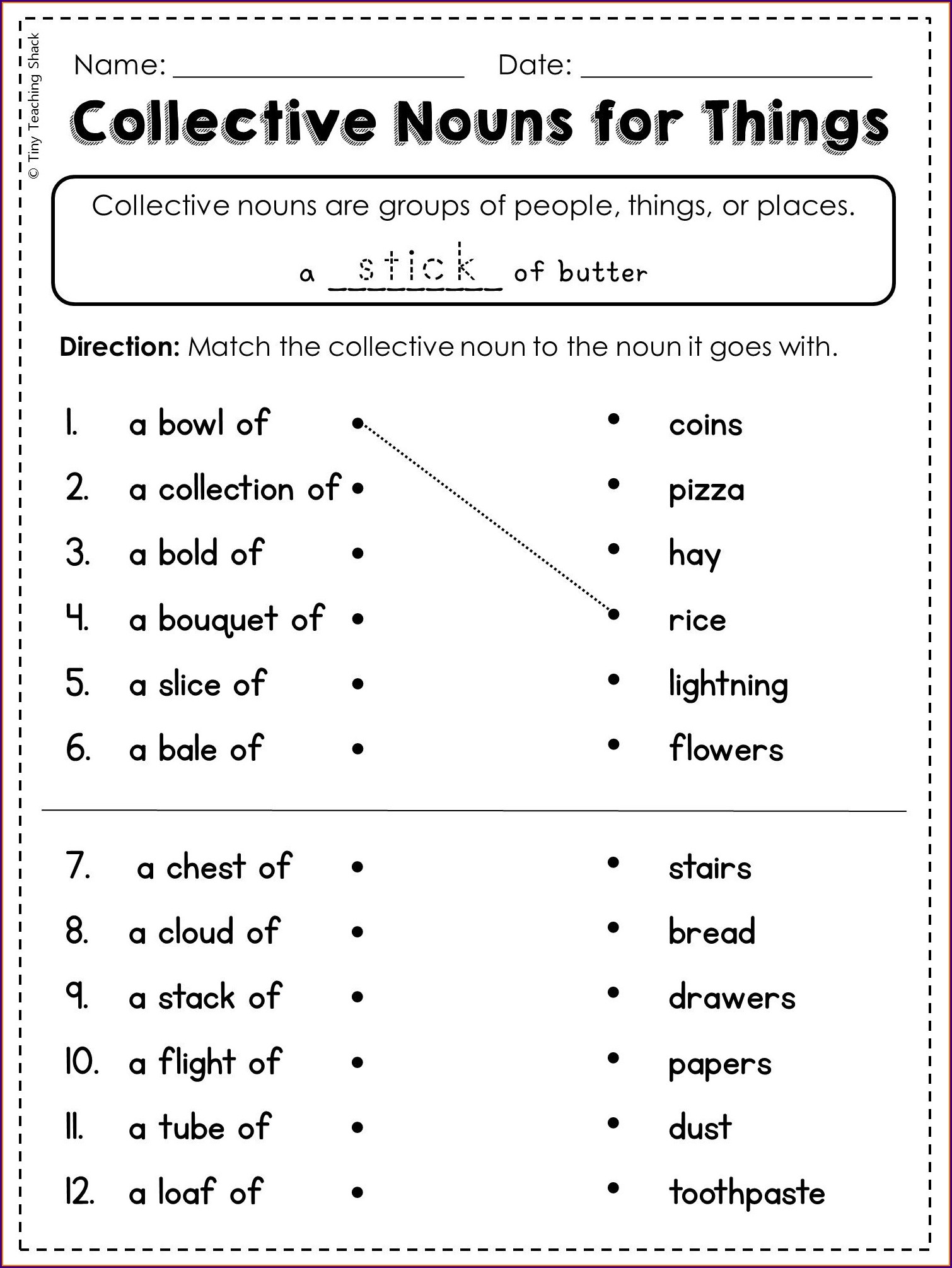 Grade 4 Collective Nouns Worksheet With Answers
