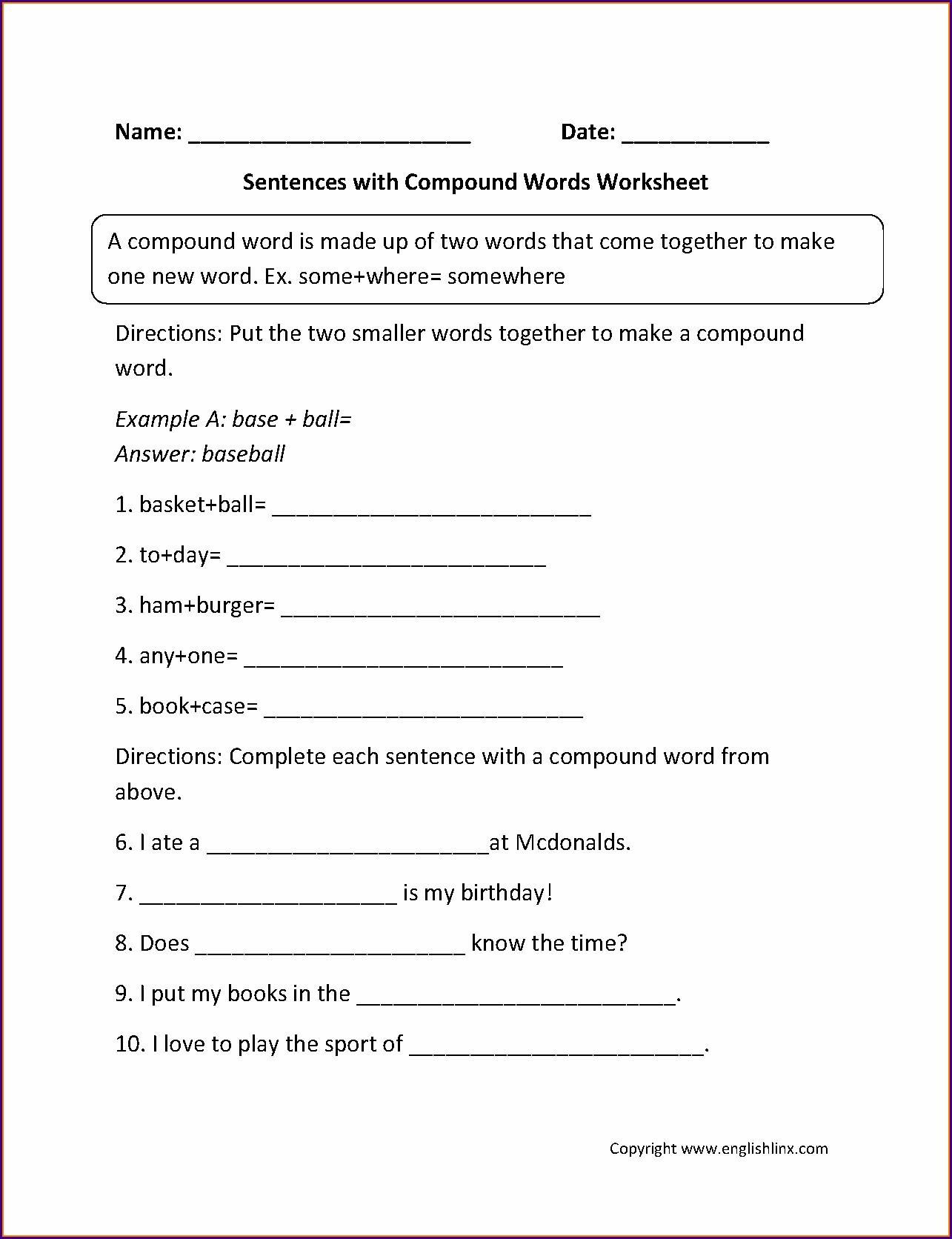 Grade 4 Compound Nouns Worksheet
