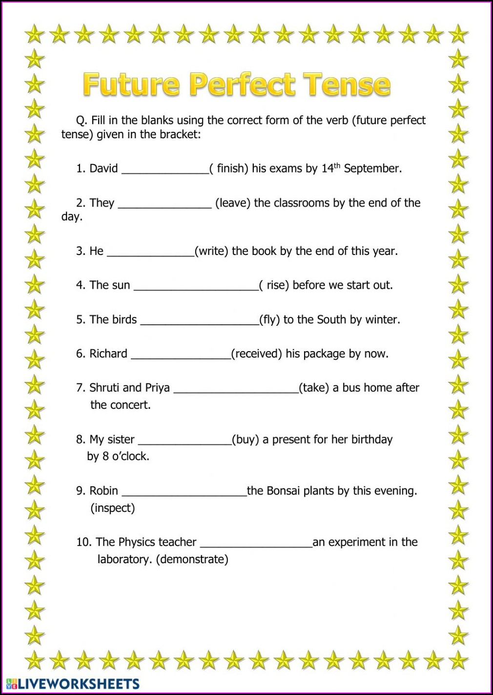 Grade 4 English Tenses Worksheets