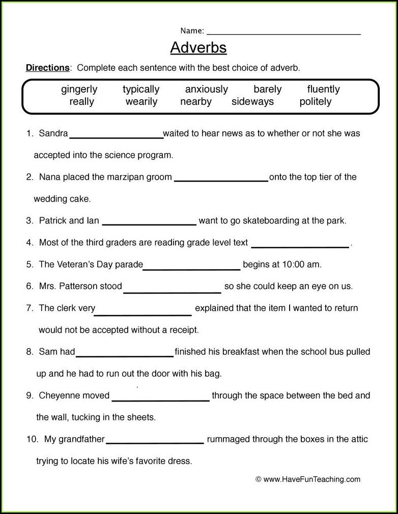 Grade 4 Kinds Of Adverbs Worksheet