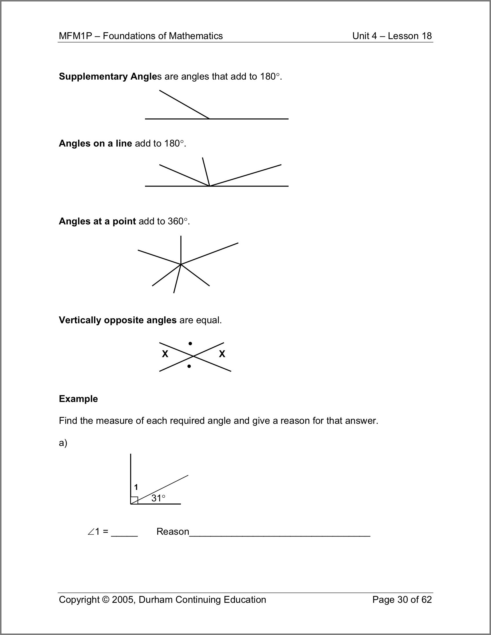Grade 4 Math Angles Worksheets