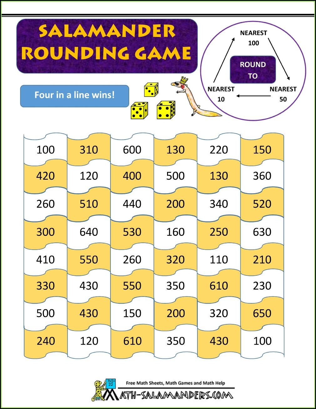 Grade 4 Printable Math Games 4th Grade