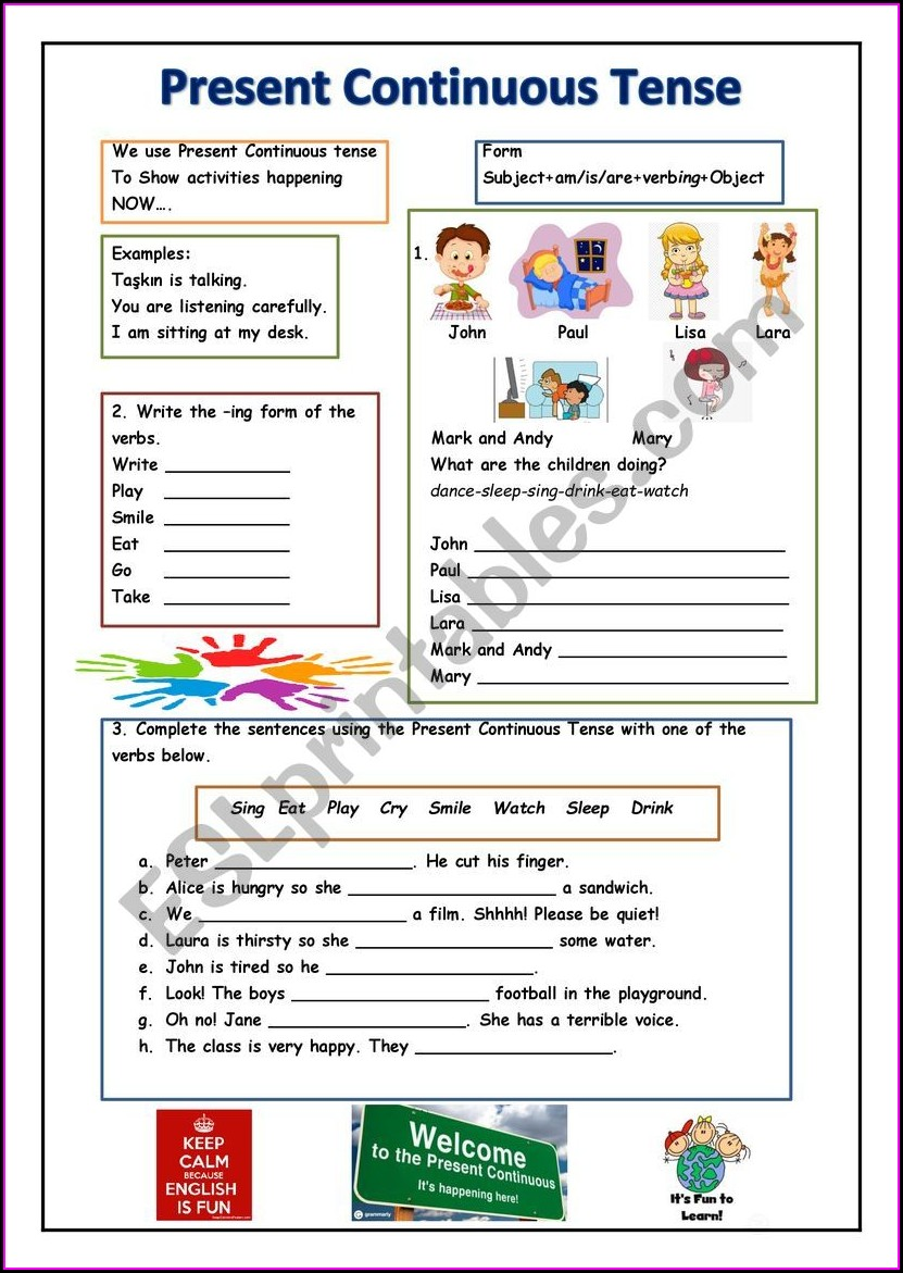 Grade 4 Progressive Verb Tenses Worksheet