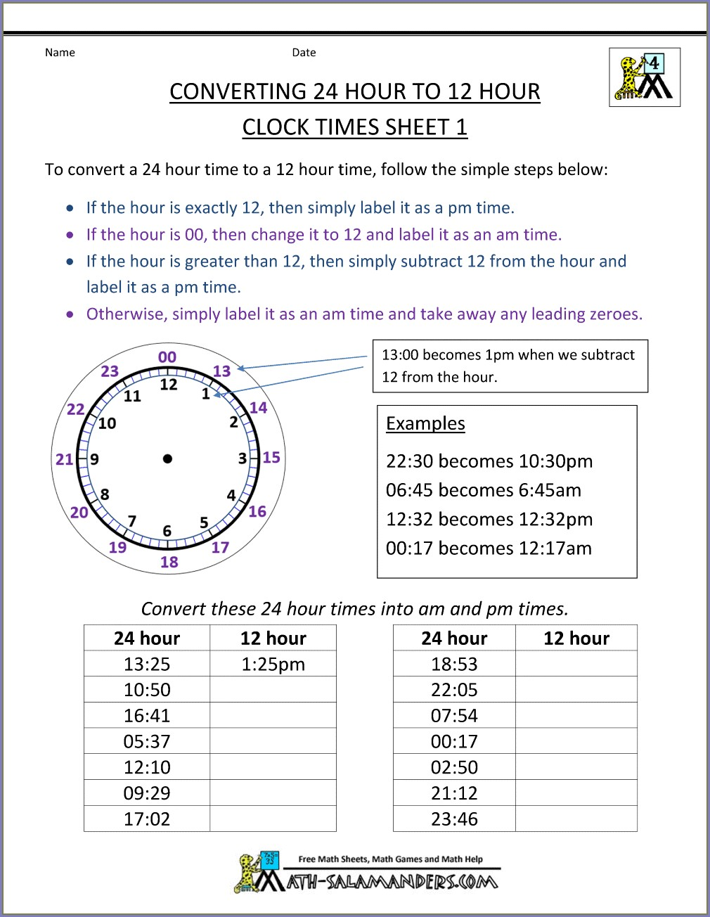 Grade 4 Time Conversion Worksheet