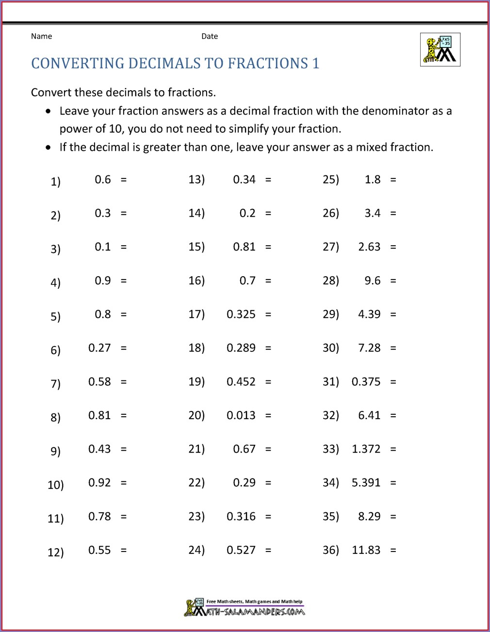 Grade 4 Worksheet For Fractions And Decimals