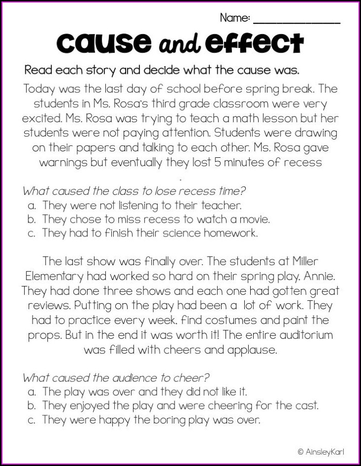 Grade 5 5th Grade Cause And Effect Worksheets