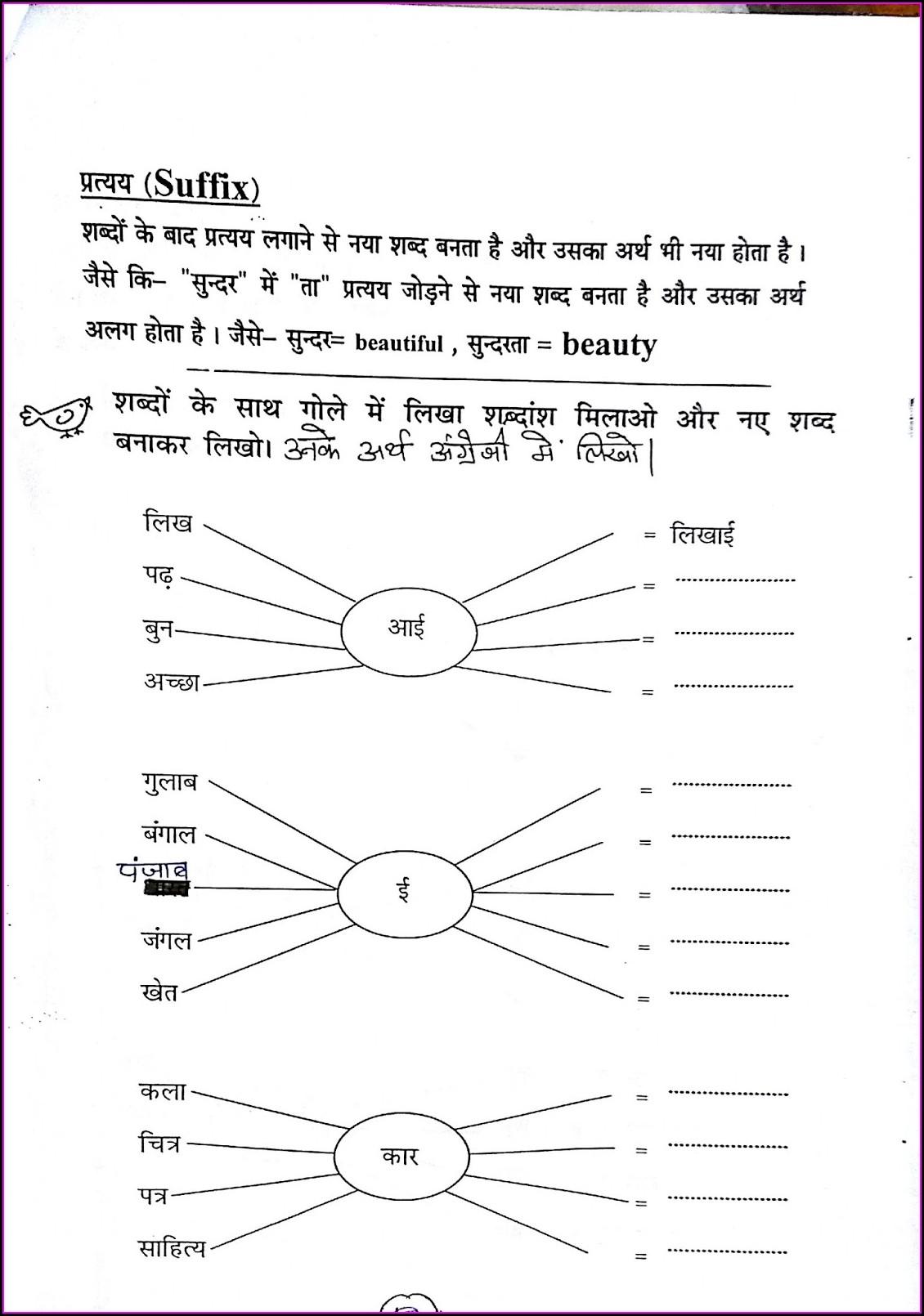 Grade 5 Hindi Grammar Worksheets