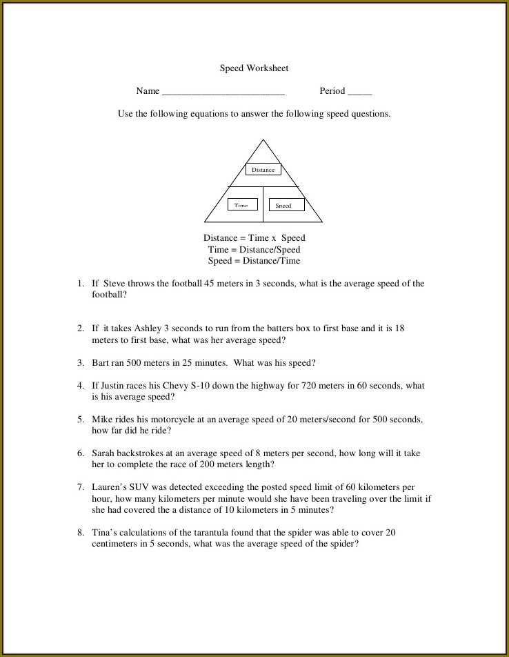 Grade 5 Speed Distance Time Worksheet