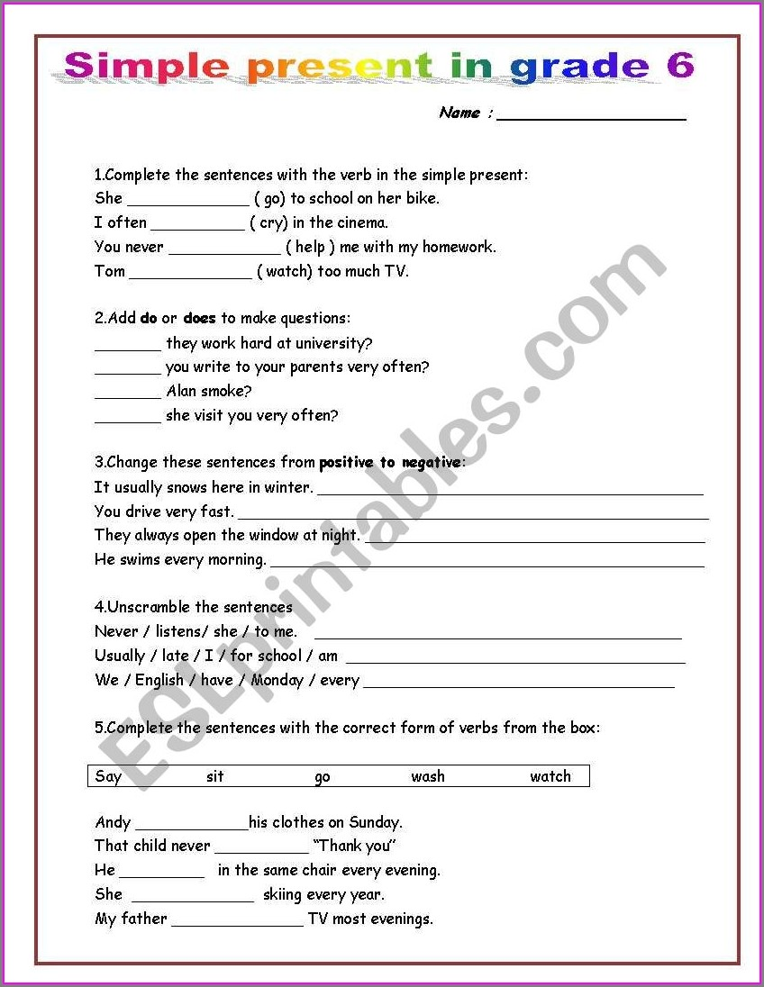 Grade 6 English Tenses Worksheets