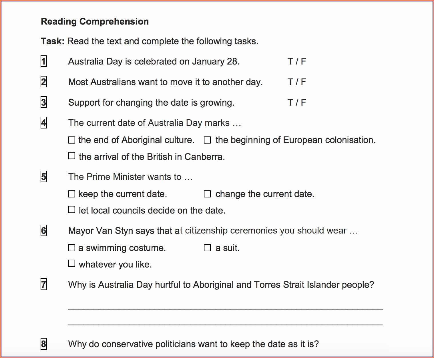 Grade 6 English Worksheets Australia