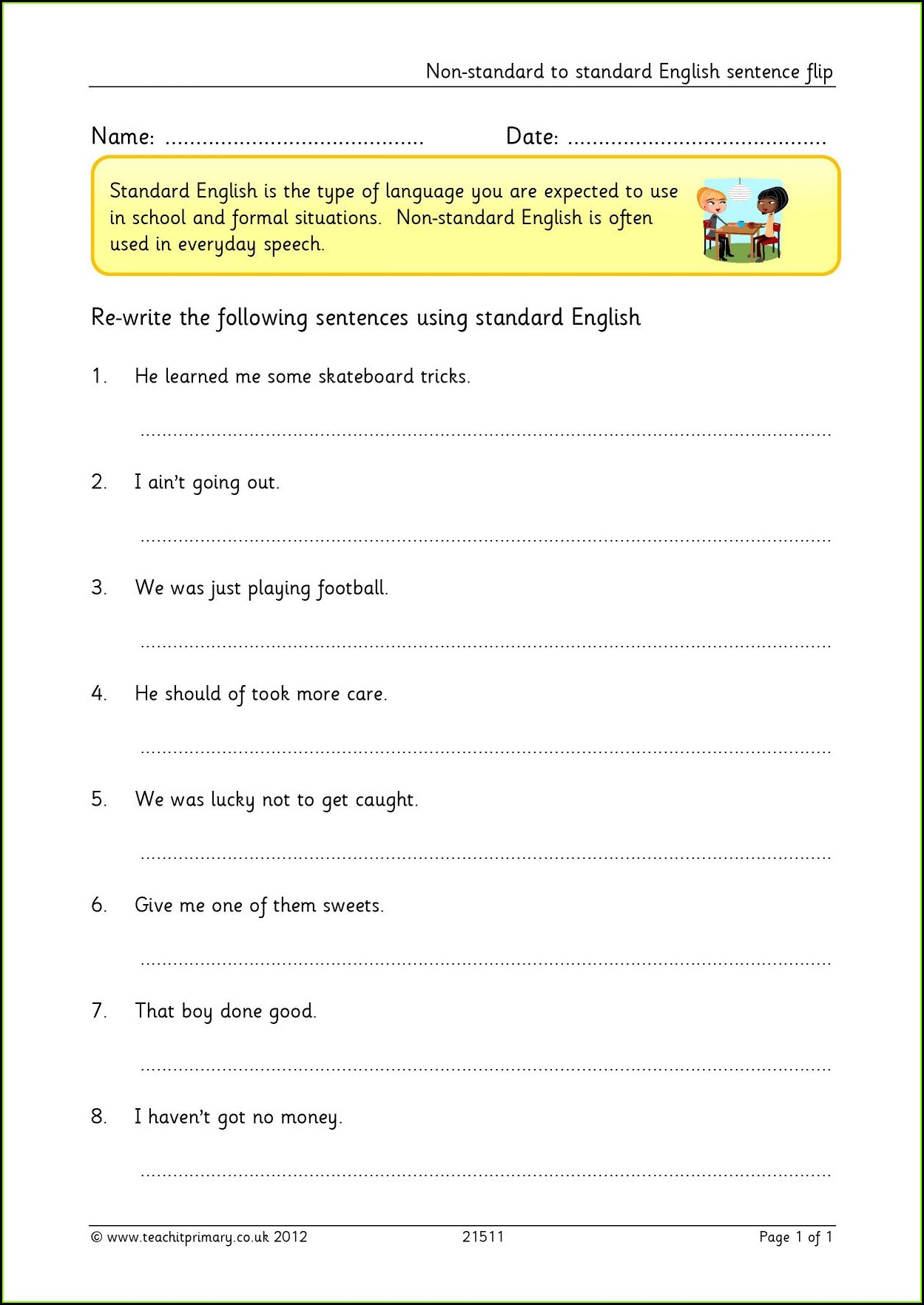 Grade 6 English Worksheets Uk