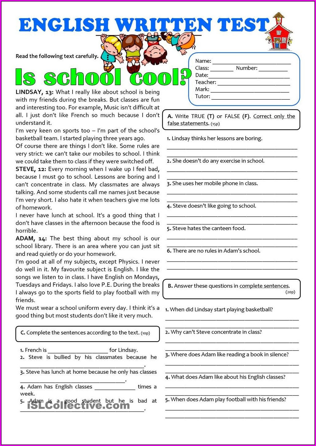 Grade 7 English Language Worksheets