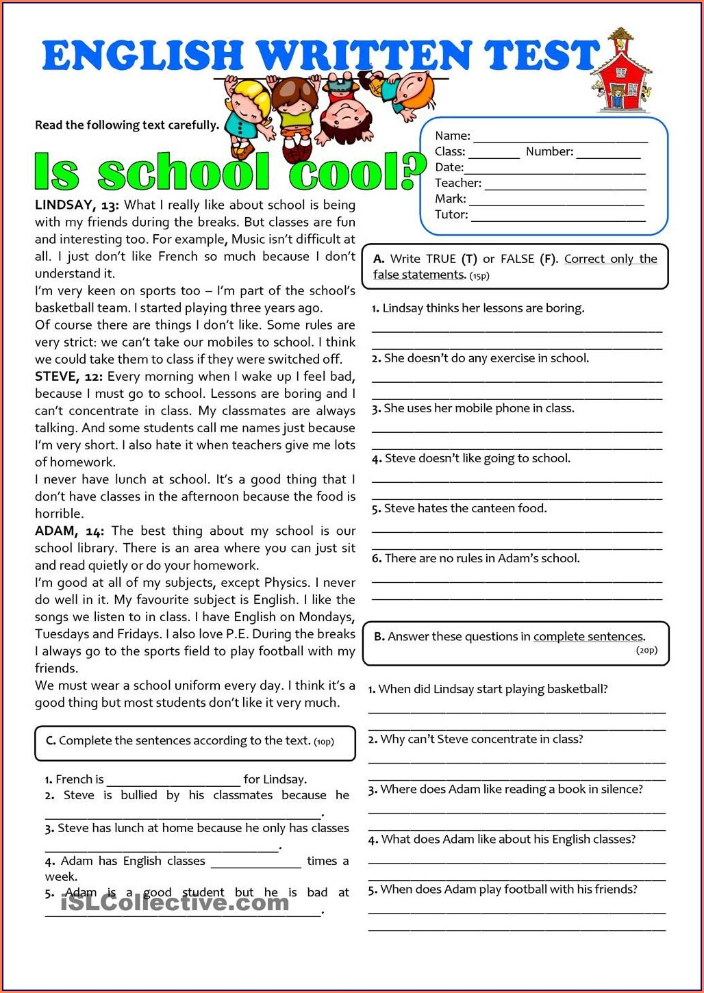 Grade 7 English Writing Worksheets Pdf