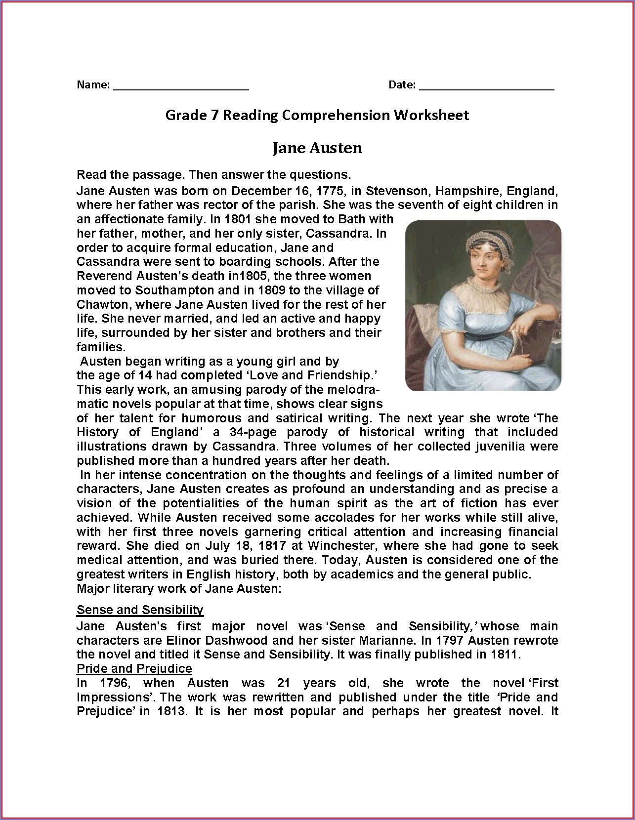 Grade 7 Free Reading Comprehension Worksheets