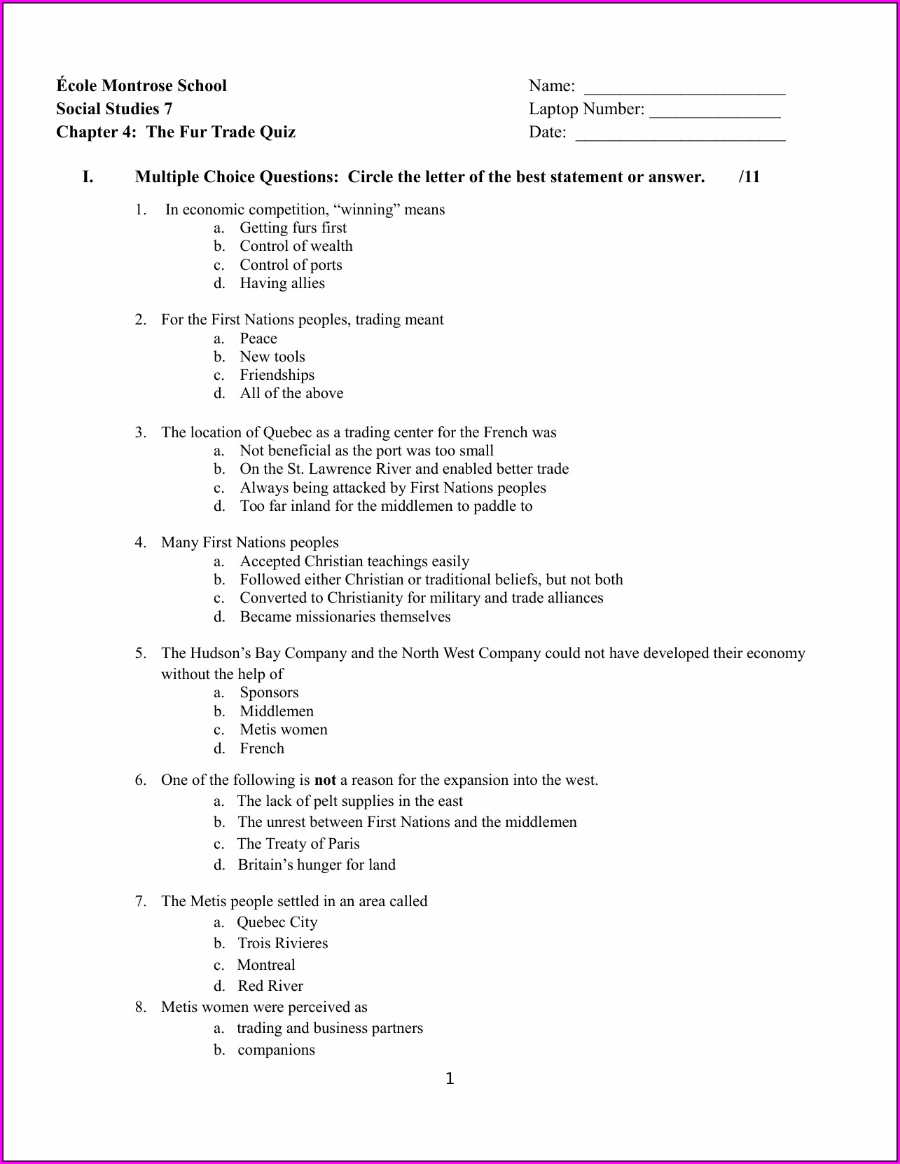 Grade 7 Language Worksheets Ontario