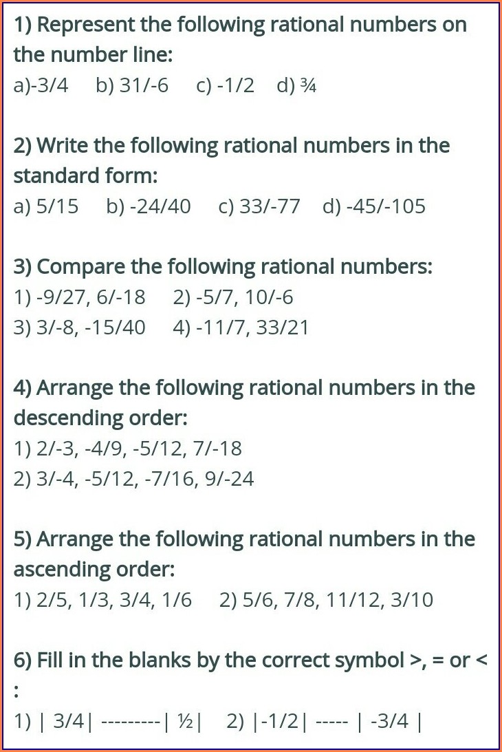 Grade 8 Worksheets On Rational Numbers