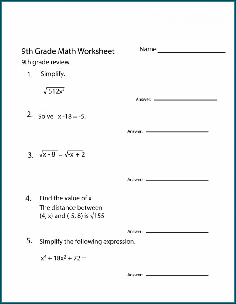 Grade 9 8th Grade Math Worksheets Pdf