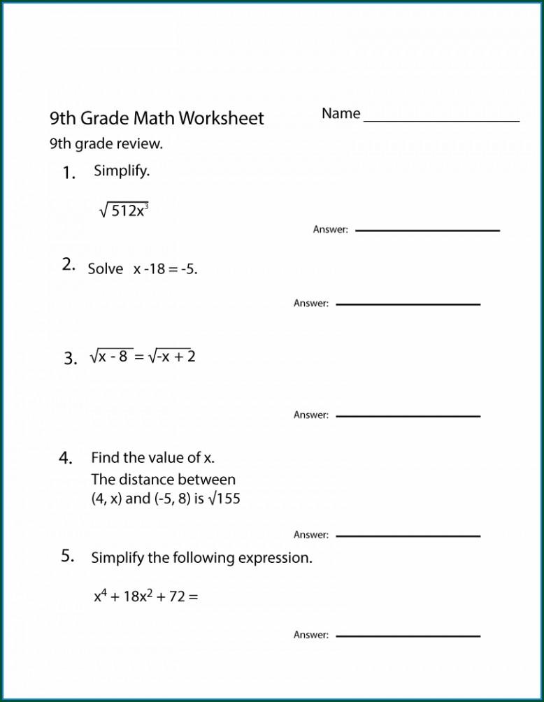 Grade 9 8th Grade Math Worksheets Pdf