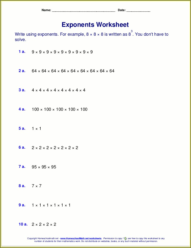 Grade 9 Exponents Worksheets With Answers