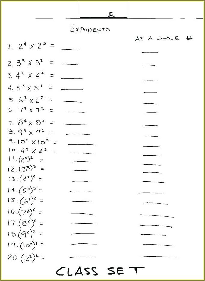 Grade 9 Exponents Worksheets