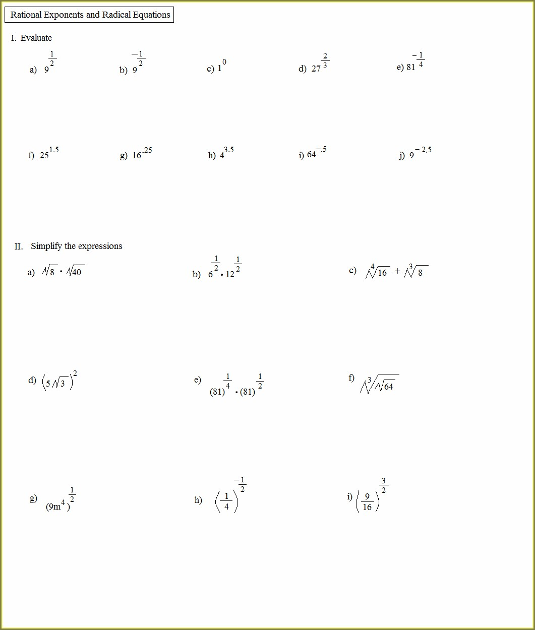 Math Worksheets For 7th Grade Exponents Worksheet Resume