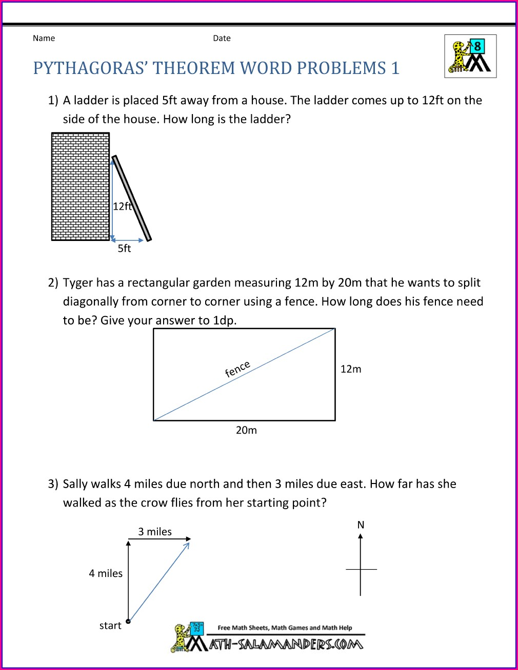 Grade 9 Pythagorean Theorem Worksheet Word Problems