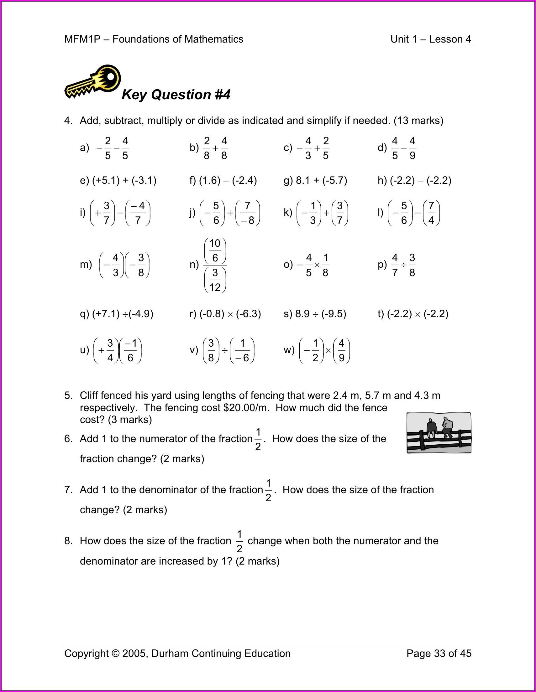 Grade 9 Rational Numbers Worksheet