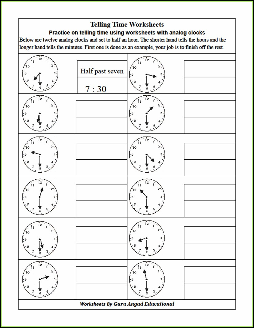 Grade Analog Clock Worksheets 2nd Grade Telling Time Worksheets