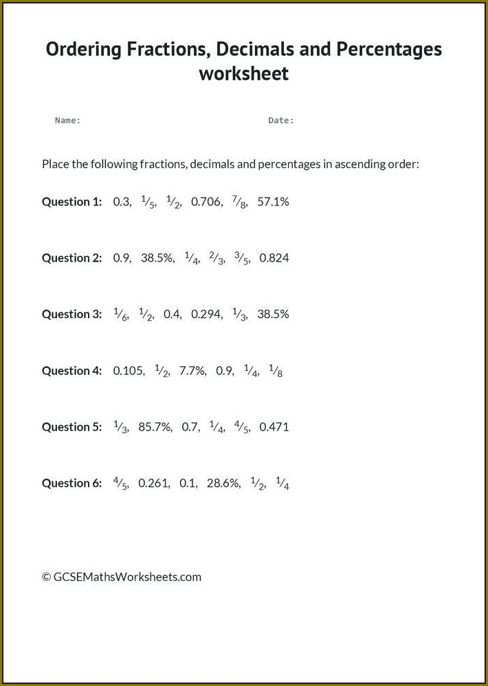 Grade Converting Fractions To Decimals Worksheet
