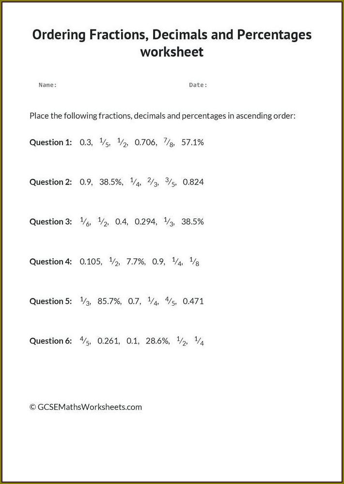 Grade Converting Fractions To Decimals Worksheet