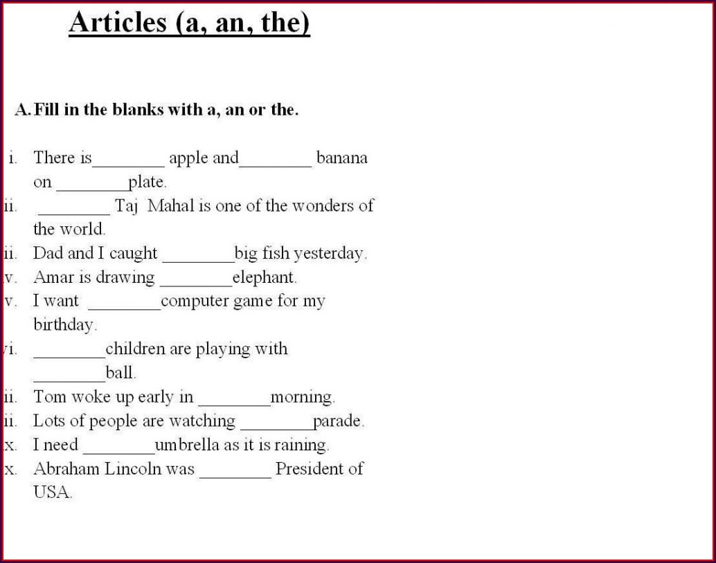 Grade One English Worksheets Free