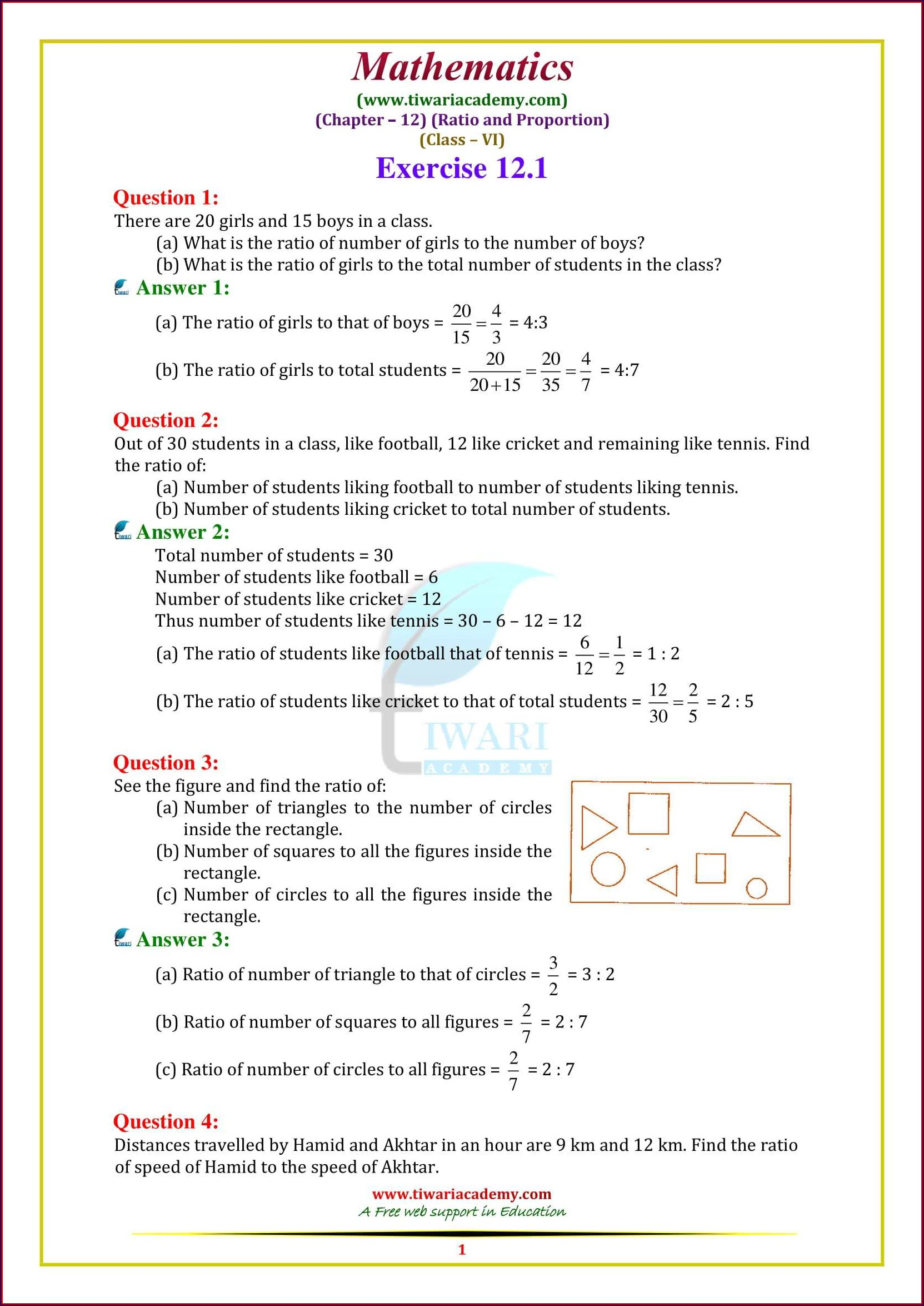 Grade Six Math Proportion Worksheets