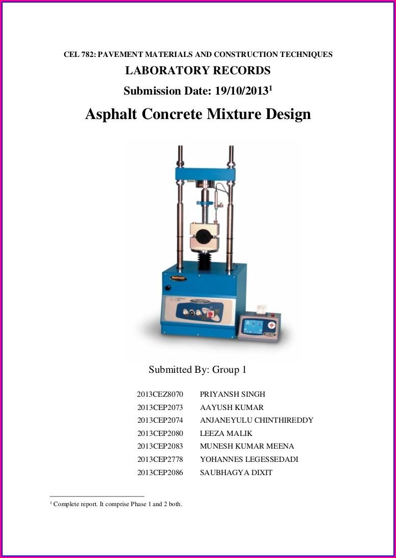 Grading Worksheet For Asphalt For Extraction
