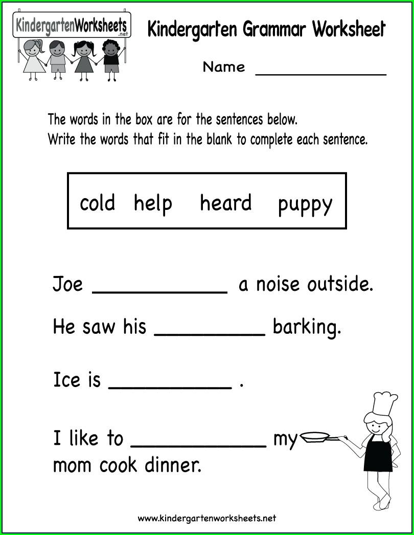 Grammar 1st Grade English Worksheets